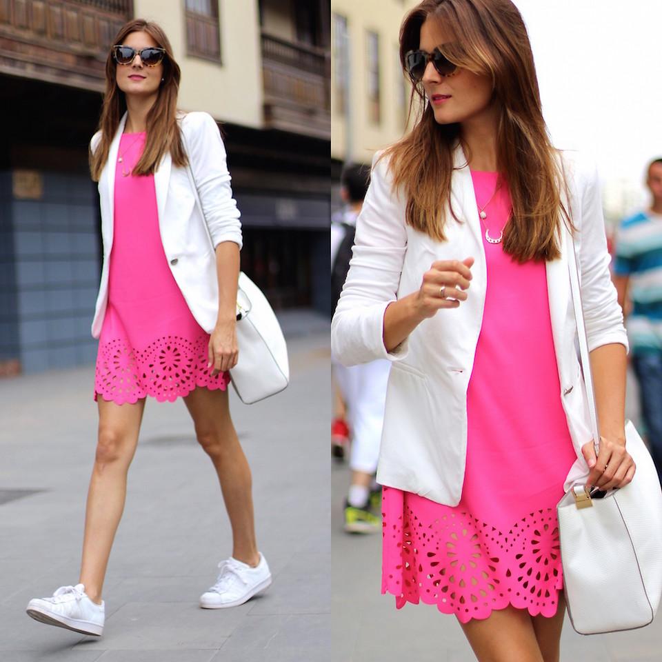Borradura Aventurero Con qué frecuencia  Marianela Yanes - Sheinside Dress, Adidas Sneakers, Zara Blazer ...