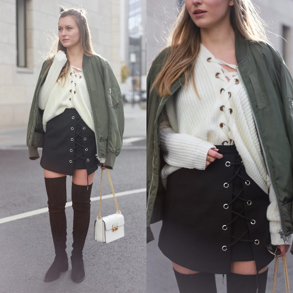 Livia Auer Asos Bomber Jacket Chicwish Lace Up Knit