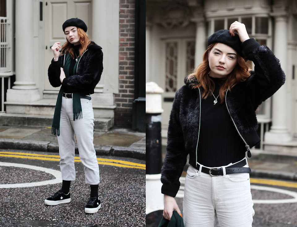 Hannah Louise Weekday White Corduroy Trousers, Converse