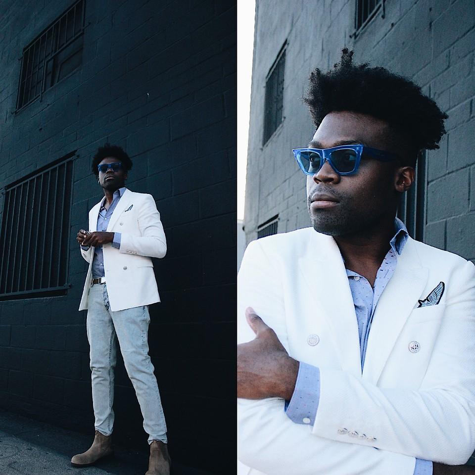 best sell buy best authentic Vernon M. - Zara White Double Breasted Blazer, Forever 21 Skinny ...