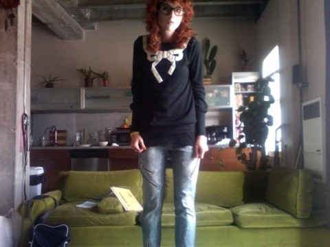Whitney Fierce - Erin Fetherston Velvet Bow Sweatshirt, Miss Sixty Super Zip Jeans, Ray Ban Original Wayfarer - School daze