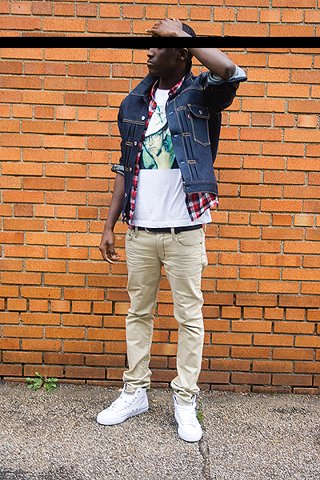 JOSHUA KISSI - Pf Flyers, Levi's® Jean Jacket, Uniqlo Tee, H&M Flannel, Uniqlo Khakis - Jean Jacket Steeze