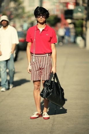 Eugene Kim - La Rosa In San Francisco Vintage Sunglasses, Comme Des Garçons Polo Shirt, H&M Striped Shorts, Topshop Patent Leather Bag, Comme Des Garçons Shoes - Creep