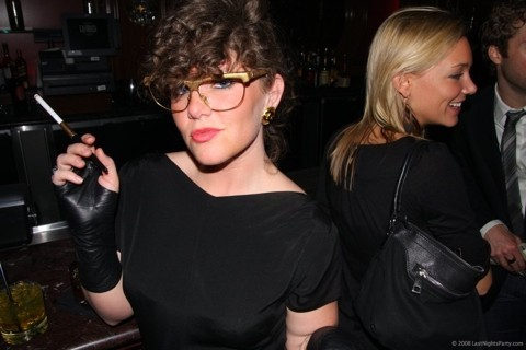 Jamie Lin Snider - Thrifted Gold Glasses, Chanel Gold Earrings, Thrifted Lil Black Dress, Thrifted Black Leather Mid Gloves - Ben Sherman Party!