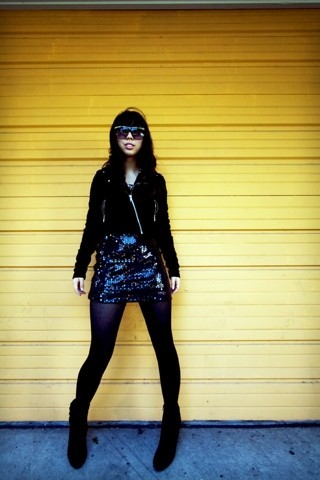Tiffany Diane . - Urban Outfitters Stunner Shades, H&M Zippered Jacket, Thrift Store Glitter Mini Dress - Next morning disco