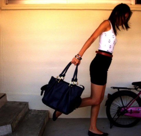 C L - Pepperplus White Top With Anchor Prints, Black High Waist Skirt, Topshop Blue Bag, Dark Blue Flats - In the blues