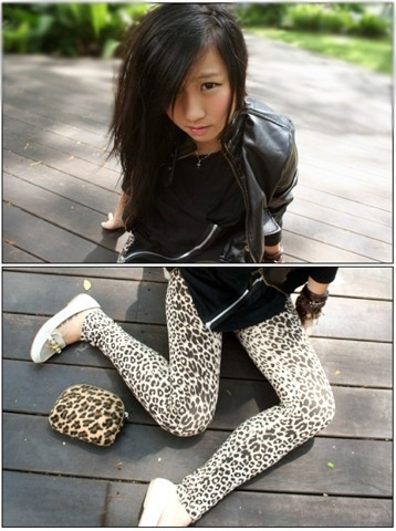 Tammy Tay - Hong Kong Leather Jacket, Topshop Exposed Zipper Tee, Forever 21 Leopard Tights, Chain Moccasin Shoes, Thrifted Leopard Pouch - Animal Instinct