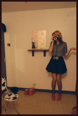 "Cat B - 1950s Camera, It Doesn't Work., New Look Shirt., H&M Belt, Primark Skirt, These Are Shoes. - Kodak ""brownie"""