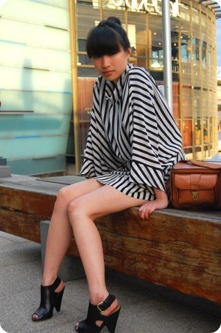 SHERYL MILK - Vintage Striped Batwing Dress, Thrifted Vintage Camera Bag, Sidewalk Leather Cut Outs - Goodbye me love.