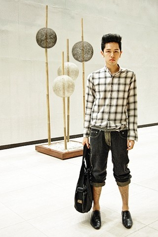 X Pascual - 5 Cm Gingham Shirt, Greyhound Pants, Bleach Catastrophe Shiny Canvas Bag, Bally Lace Up Dress Shoes - Phallic Pants