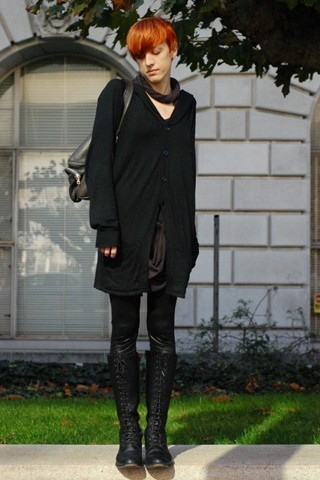 Biz C - Lifewithbird Slider Bag, Buddhist Punk Loopy Dress, Hooded Cardigan Endovenera, H&M Robot Legs, The Frye Company Lace Up Engineer Boots - Check
