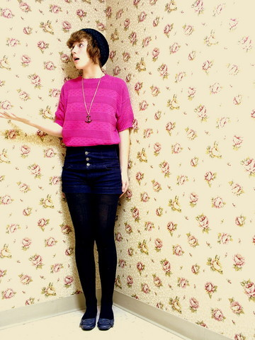 Anna Martin - Second Hand Pink Cropped Sweater, H&M Highwaisted Shorts, Forever 21 Anchor Necklace, Target Wool Tights, Payless Patent Leather Flats, My Amma Wool Beanie - Pink roses, leaves of green.