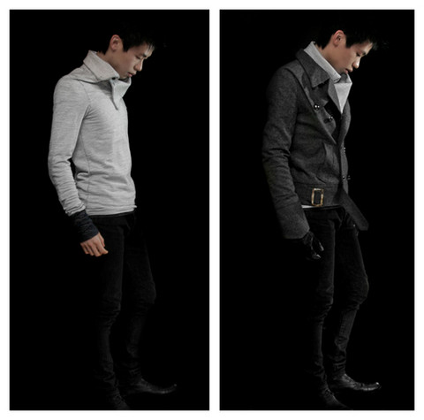 Anthony H - B.Son Mock Neck Shirt, Zicoy Double Breasted Jacket, American Apparel T Shirt, Christian Dior Black Raw Jeans, Unsure Leather Gloves, Chronicles Of Never Skeleton Key Boots - The reflections are all wrong.  Definitely photoshopped