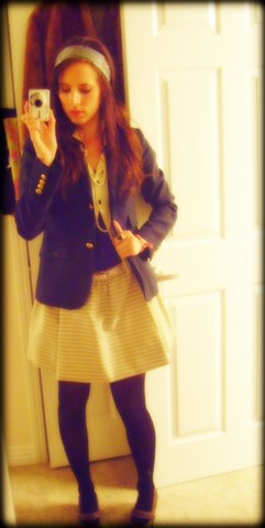 Ashley Kdot - H&M Pretty Blue Silk Scarf, J. Crew Classic Blazer, Urban Outfitters Black & Cream Lace Sweater, Urban Outfitters Blue/White Stripped Skirt, Scotland Mary Jane Wooden Shoes - Loving my pearls