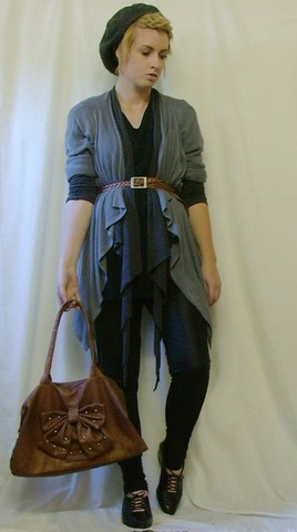 Tamara Cordon - Ebay Studded Bow Bag, Vintage Lace Up Flats, Vintage Beret, Second Hand Black Shirt, Vintage Light Grey Cardi, Vintage/Diy Dark Grey Cardi, Vintage Braided Belt, Topshop Not Shiny Anymore Leggings - If you hate your friends, you're not alone