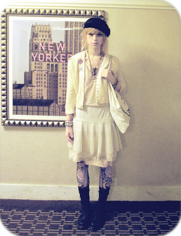 Lovisa Långstrump - Toronto Studded Bracelets, Vintage Light Peach Slip, Dr. Martens Combat Boots, Forever 21 Paisley Tights, Cheap Monday Canvas Bag, Vintage Cardigan, Flea Market Burst Pink Rhinestone Pin, Home Made Or Second Hand Buncha Neckalaces, The Garage Jesus, Market In Berlin Veiled Hat, Thrift Lace Slip Dress, Vintage White Lace Skip - You know i believe in how