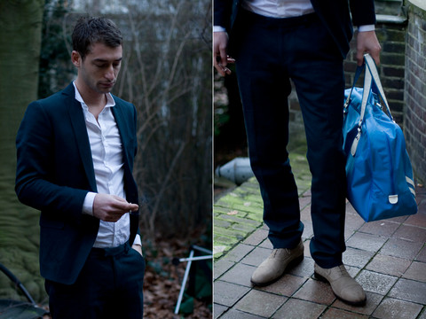 The Man Who Knew Too Much - Drykorn Jacket, Hugo Boss Shirt, Drykorn Trousers, Acne Studios Shoes, Adidas Bag - Sheer Make Serve