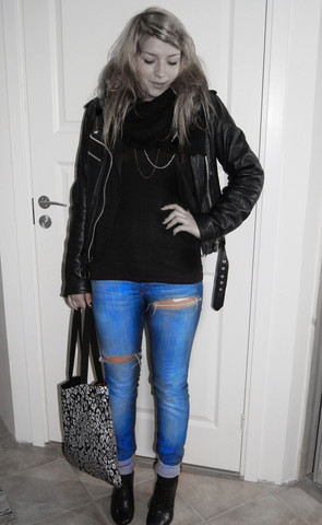 Fanny Wallertz - Glitter, Snö Stockholm Necklaces, Olssons Leather Jacket, H&M Tanktop, ? Jeans, H&M Shoes, Bikbok Bag - Blue jeans serenade
