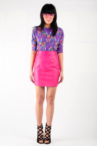 Nida Elizabeth - Nasty Gal Chia Hot Pink Leather Skirt, Nasty Gal Kit Ikat Top - Hot pink