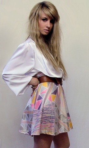 Tamara Cordon - Vintage Silk Plunge Neck Blouse, Vintage Brown Belt, Diy Graphic Skirt - A dreamy day of day dreaming of you