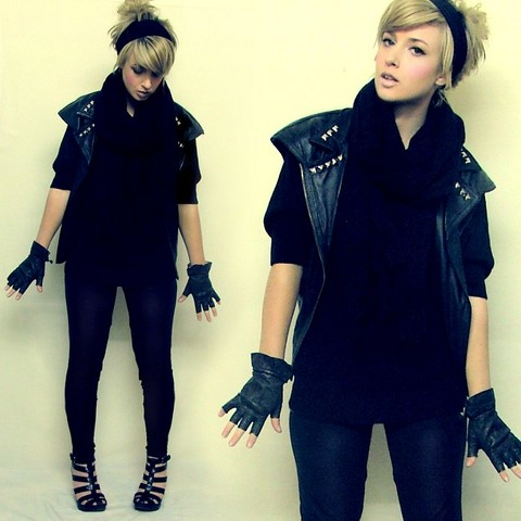 Tamara Cordon - Old Tights Haha Headband, Oversize Black Scarf, Diy/Vintage Studded Vest, Second Hand Black Batwing Top, Vintage/Diy Fingerless Leather Gloves, Topshop Not So Shiny Anymore Leather Leggings - Rock out with your glock out