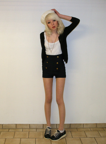 Shelley Mulshine - Gift From My Grandmother Sailor Hat, Goldring In A Chain, I Made Them Myself Navy Blue Sailor Shorts With Gold Anchor Buttons, På Pricken RöD Vintage Navy Blue Nurseshoes From The 60's, H&M Black Cardigan - Sailor