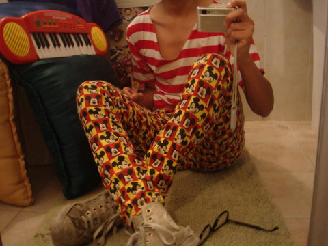 Chimi Luis - From My Fashion Designer Mickey Mouse Jeans Made By Jandira, Founded In The Garbage Melodic Keybord, By Polo Glasses, Jandira Red & White Stripped T Shirt - Mickey mouse & the melodic keyboard