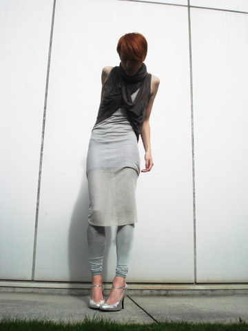 Biz C - Love Blue Short Ribbed Dress (Under), Rick Owens Beige Longish Ribbed Dress (Over), Jigsaw Development Loopy Vest, Nolita Leggings, Pour La Victoire Silver Shoes - Dot