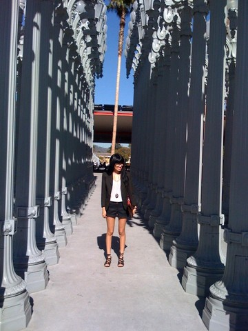 Valerie Renée - Thrifted Olive Green Shrunken Blazer, American Apparel White Cami, Forever 21 Black Dress Shorts, Gift From Tim Lamb Bag, Yuka Gladiator Sandals - Lacma geek