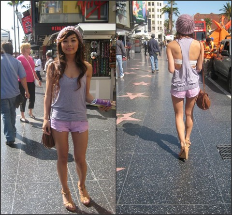 Nikki Desuasido - Forever 21 Lavender Beanie, Solemio Tank Top, Mango Tan Satchel, Spiral Girl Pink Striped Shorts, French Connection Uk Nude Wedges - I'm see seeing stars...