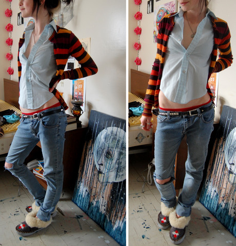P B - Vintage Boys Collar T, Hand Me Down Stripey Wool Sweater   Cut Down The Middle, Studded Belt, Re Sewn Jeans (That Used To Belong To My Boyfriend's Mom), Vintage Moccasins - Laundry day