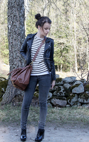 Vanessa C - Carlings Jacket, Weekday Striped Tee, Accent Bag, Cheap Monday Jeans, Wedins Shoes - Banana baby