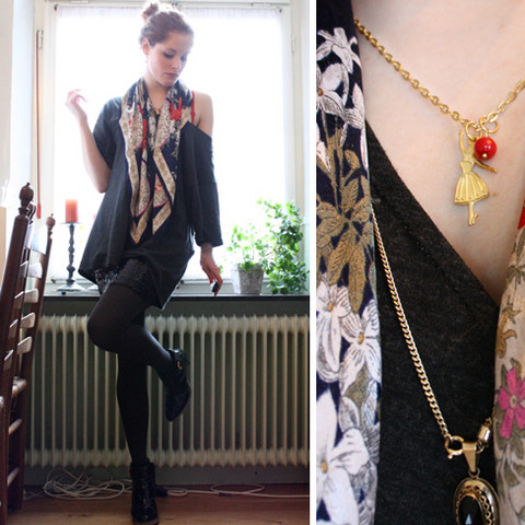 Renée Sturme - Antique Gold Necklace, My Dad's Faded Black Tee, Vintage Floral Scarf, Vintage High Waisted Sequined Bodycon, Hema Dark Grey Tights, Unisa Ankle Boots, RenéEsturme/Jewelry Ballerina Rouge Necklace - Supposed to fire my imagination