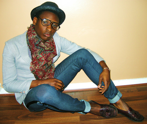 Mr. S - Straw Porkpie Hat, Vintage Silk Scarf, Vintage Blazer, April 77 Jeans, Vintage Loafers - Hit Me With Your Best Shot...Fire Away...