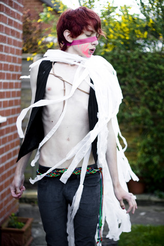 Not Nothing - My Mum Pink Ribon, Amy Critchlow Wing Scarf, Primark Waistcoat, Vintage Dangly Belt, Topman Blue Shiny Cords - Worn thin from wasting too much time