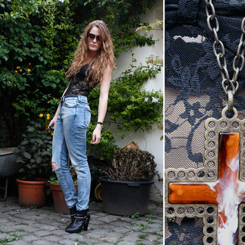 Renée Sturme - Cheap Monday Lace Body, H&M Jeans, H&M Ankle Boots, Gift Large Cross Necklace, Vintage Formule 1 Oversized Shades - Whatever gets you through the night