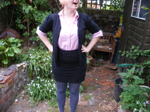 Dorothy Collins - H&M Black Skirt, Marks & Spencer Grey Tights, Shirt From My Nana, Florence And Fred Black Cardigan - My nana has the best clothes