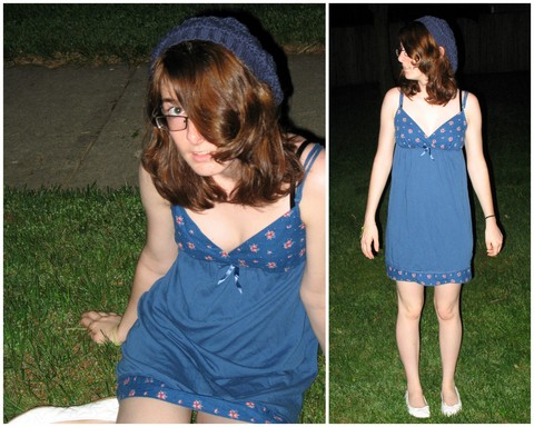 Marie L - Charlotte Russe White Ballet Flats, Target Blue Sundress, Forever 21 Navy Crocheted Hat - Not my cup of tea