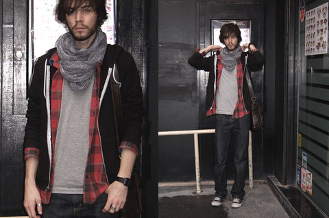 Tony Stone - Topmen Student Bag, American Apparel Circle Scarf, Carhartt Grey Pocket T Shirt, American Apparel Usefull Zipper, Carhartt Work Trousers, Converse Black Chucks., Vintage Plaid Is Cool. - 90's Indie.