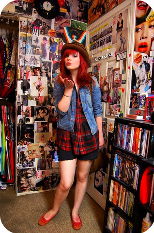 Dawn Davenport - Jean Jacket, Value Village Plaid Shirt, Diy Shorts, Super Old Flats, Wildlife Thrift Store Bag, Aunt Feathered Hat - Sugar Town