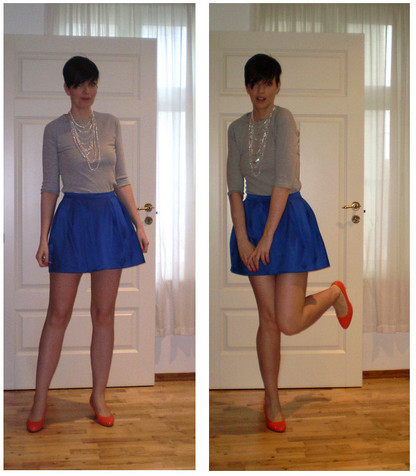 Marianne N - Gina Tricot Multichain Necklace, H&M Jersey Top, Gina Tricot Blue Skirt, Dinsko Neon Orange Pumps - Where's the party at?