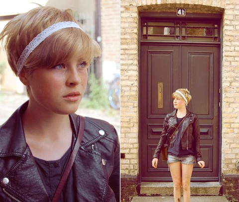 Ellen Hallström - Home Made Head Band, H&M Leather Jacket, Camera Bag, The Door Into My House - Happiness can be found, even in the darkest of times, if one only remembers to turn on the light.