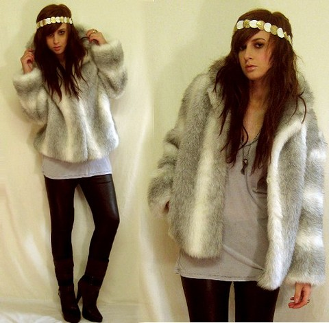 "Tamara Cordon - Vintage Belt Metallic Disc Headband, Vintage Faux Fur Coat, Fluxus Burnout Tee, Topshop Pleather Leggings, Siren ""Drift"" Boots, Chronicles Of Never Neo Realism & Logo Necklace - So-and-So in Furs"