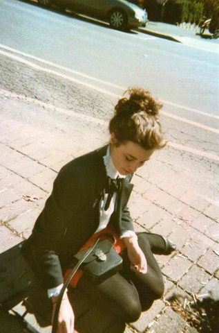 Lottie Phelan - Vintage Blazer, Vintage Shirt, Vintage Orange Skirt - Waiting for the bus...