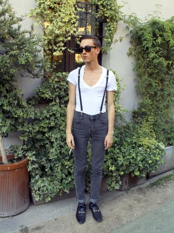 Gregorio ! - American Apparel Deep V Neck Summer T Shirt, Ray Ban Wayfarer, Cheap Monday Skinny Jeans, Gucci Beatle Kid Loafers, American Apparel Diamond Black Socks, American Apparel Black Suspenders - Good enough