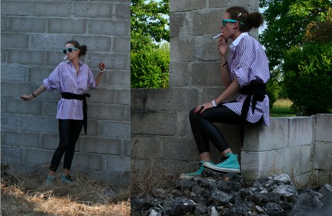 Charline G - Ray Ban Wayfarer Rayban, Vintage Woven, Legging, Converse All Star - I'm such a coward, i could win an award ♫