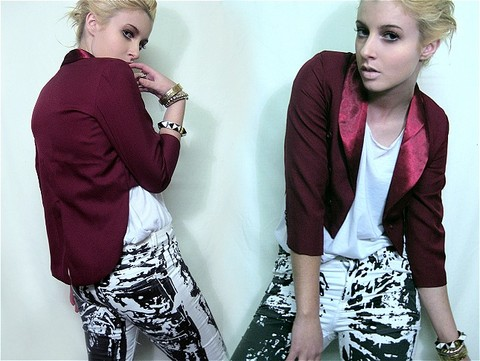 Tamara Cordon - Vintage Glomesh Cuff, Kenneth Jay Lane Gold And Silver Cuff, Kenneth Jay Lane Pyramid Bracelet, Vintage Burgundy Crop Front Tail Jacket, Cheap Monday Painted Jeans - Let my fish loose