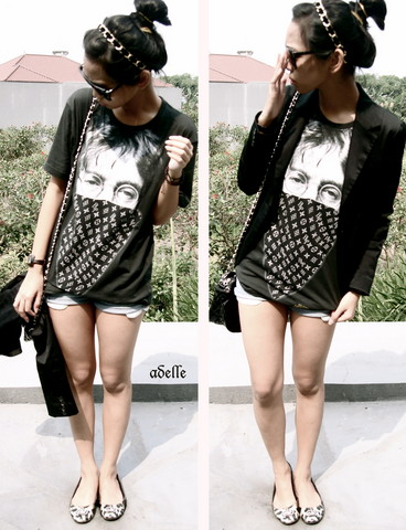 Adelle Veronica - Redherring Leopard Shoes, Gold Chain Headband, Forever 21 Sunnies, Zara Black Blazer, Black John Lennon Shirt, Black Bag, Shorts - Shut up, uncle john...