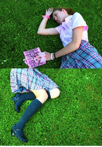 Charline G - Charese Pink Woven, Friperie. Tartan Skirt, H&M Grey Socks - _Expectancy First_