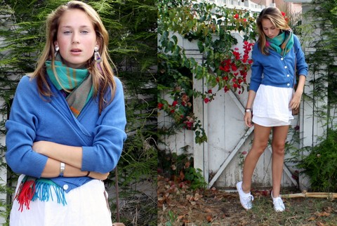 Claire Brown - Vintage Wool Scarf, H&M Cashmere Sweater, Keds, Abercrombie Shirt Worn As A Skrit - I'm Seasonaly Confused